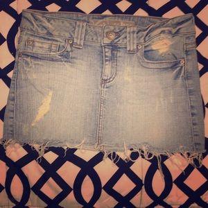 Frayed light jean skirt size 5 mini
